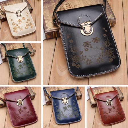 Womens Small Crossbody Bag Vegan Leather Cell Phone Purse Holder Wallet Functional Multi Zip Pocket For Women