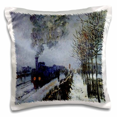 3dRose Picture Of Monets Famous Painting Train In The Snow - Pillow Case, 16 by 16-inch ()