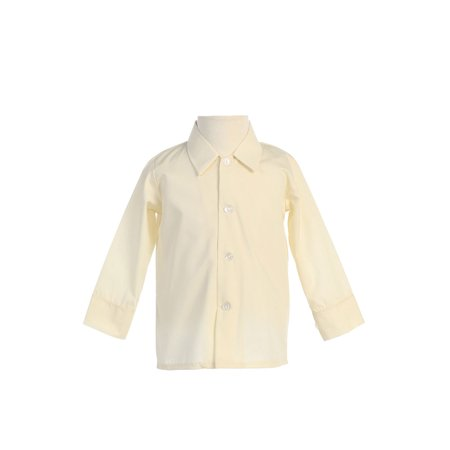Avery Hill Baby Boys Infant Toddler Long Sleeved Simple Dress Shirt in Ivory or White - White Dress Shirt Boys