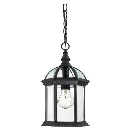 Traditional Outdoor Pendant Light (Satco Boxwood Textured Black Traditional Outdoor w/ 1 Light 100W )