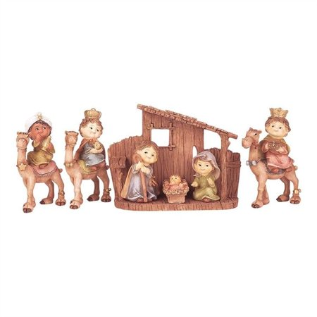 CHILDREN'S NATIVITY SET, 7-Piece Resin Set Includes Stable, by Dicksons - Child Nativity Set