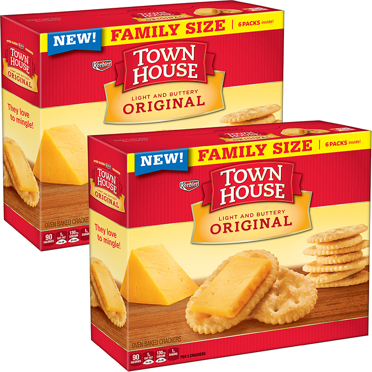 (2 Pack) Keebler Town House Original Light and Buttery Oven Baked Crackers 20.7 oz. Box