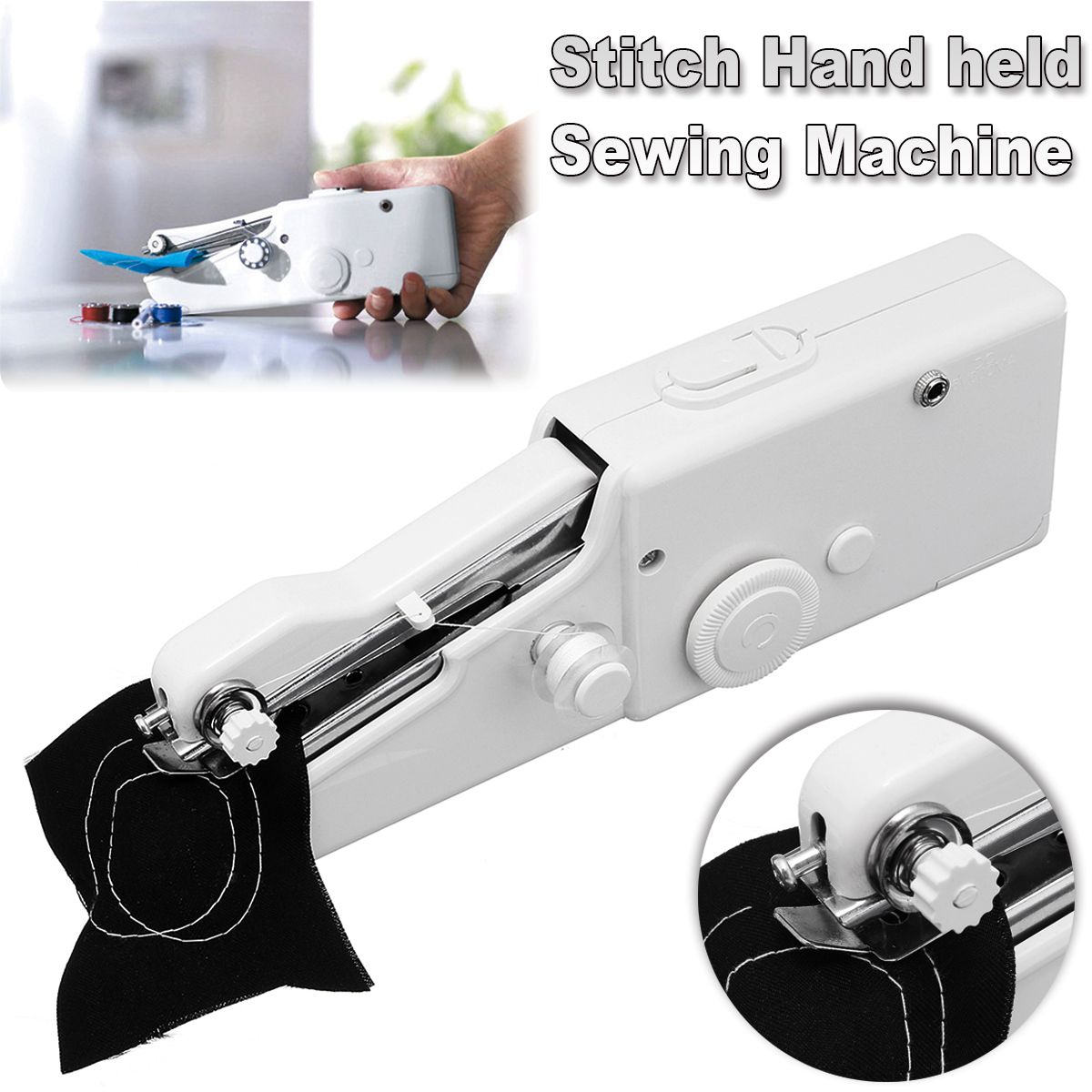 Handheld Stitch Sew Universal Cordless Handy Sewing Machine Quick Repair Tool Battery-Operated for DIY Clothing Denim Apparel Sewing Fabric Zippers Crafts Supplies (No batteries)