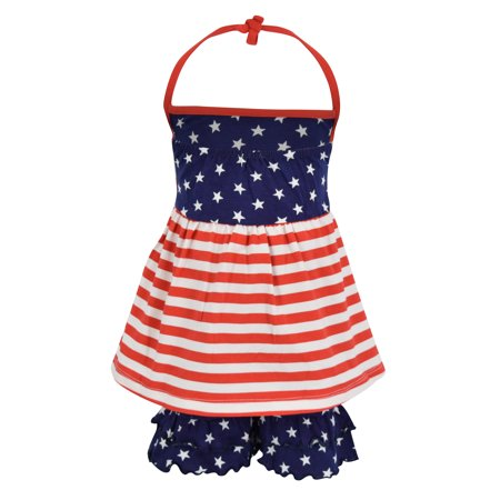 Unique Baby Girls 4th of July Patriotic Halter Top Summer Outfit (2t, - 50s Day Outfit Ideas