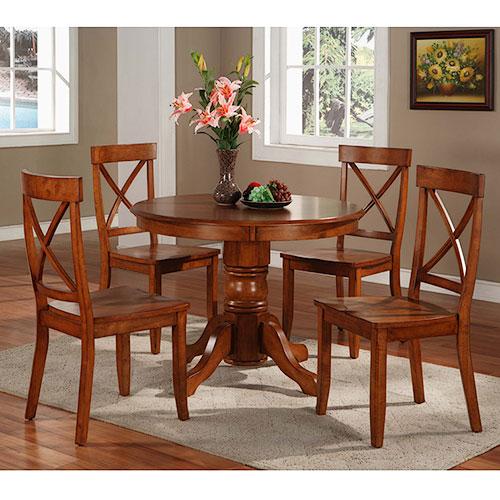 Home Styles 5 Piece Pedestal Dining Set, Cottage Oak