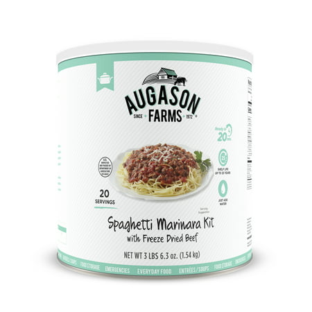 Augason Farms Spaghetti Marinara with 100% Real Freeze-Dried Beef Long-Term Food Storage Everyday Meal Prep Large Can (Long Term Storage)