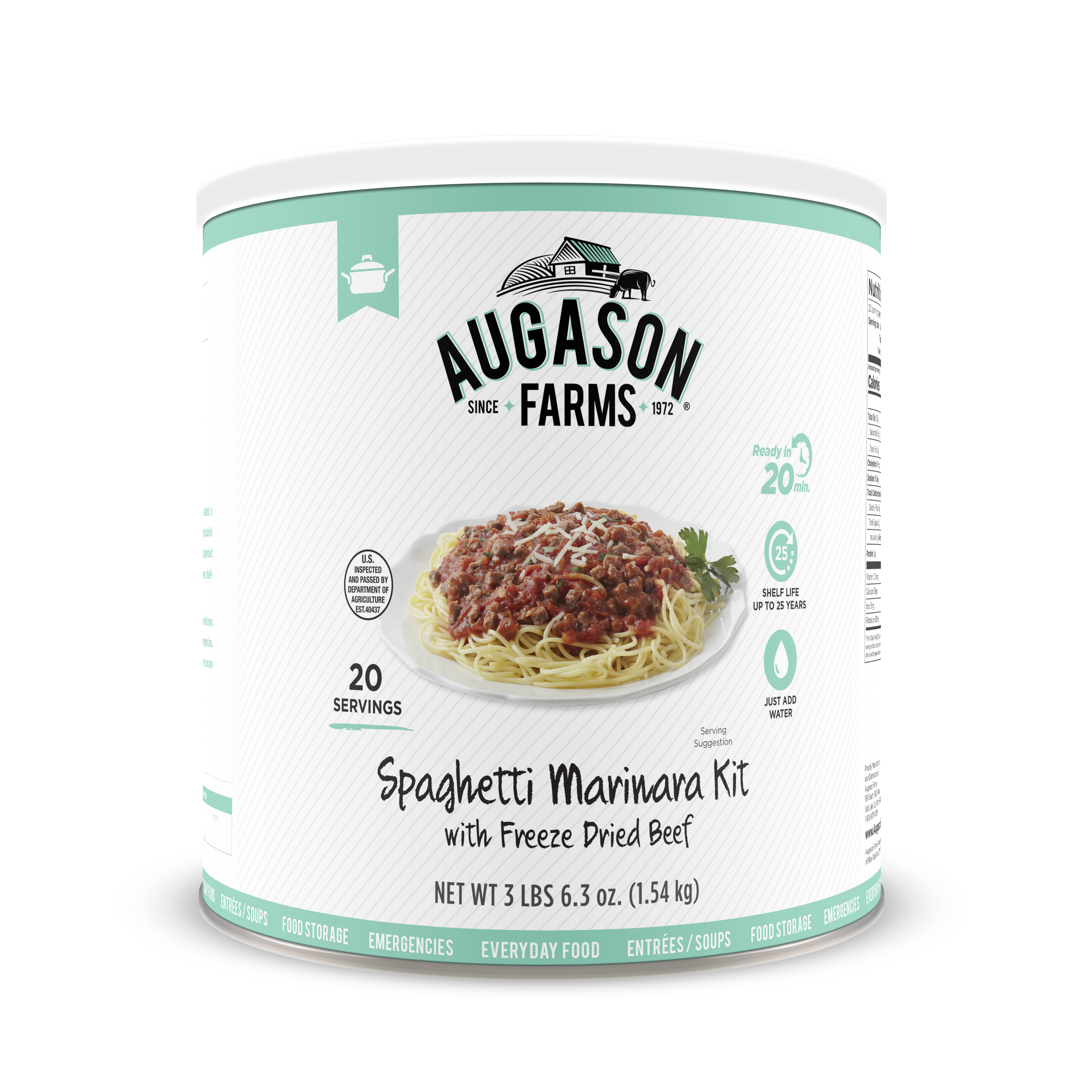 Augason Farms Spaghetti Marinara with Freeze Dried Beef 47. 84 oz No. 10 Can