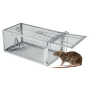 HERCHR Heavy Duty Squirrel Trap Humane Small Live Animal Raccoon Rodents, Stray Cat, Opossum and Groundhog Cage Trap, Release mice, Chipmunks, Hamsters and Other Rodents, Adjustable, Solid Door