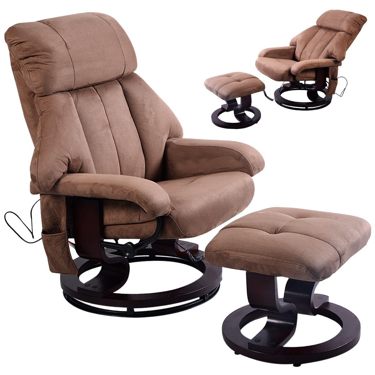 Costway Brown Leisure Recliner Chair Ottoman With 8 Motor Massage Heated  Swivel   Walmart.com