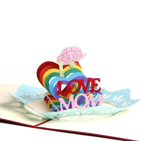 Best Mom Ever 3D Pop Up Greeting Cards for Mom's Birthday Mother's Day Cards with
