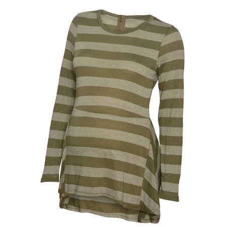 Pregnant Belly Fake (Love My Belly Women's Dark Green Stripe Hi-Low Back Zipper Maternity Top)