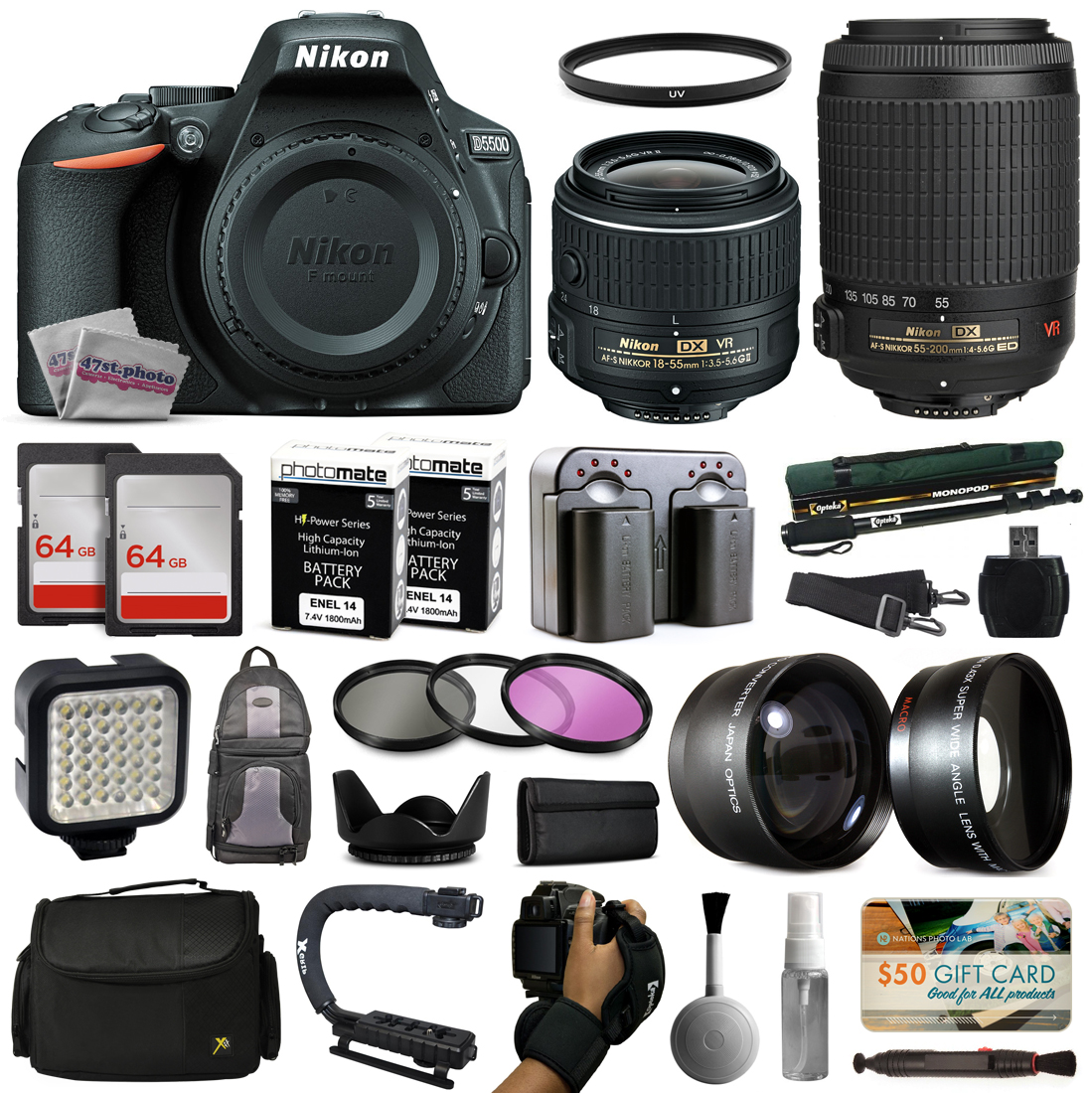 Nikon D5500 Digital Camera with 18-55mm Lens (1546) + 55-...