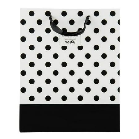 Premium Reusable Chic Black and White Paper Gift Bag with Satin Ribbon Satin Ribbon Handles (Black And White Paper)