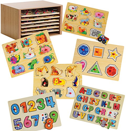 CP Toys Solid Wood Puzzle Case with 6 Knobbed Wooden Puzzles by Constructive Playthings by ConstructivePlaythings