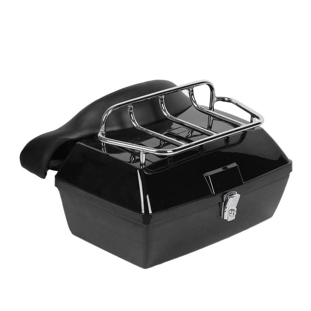 Lockable Motorcycle Trunk Luggage Case Tail Box+Rack+Backrest Back Cushion