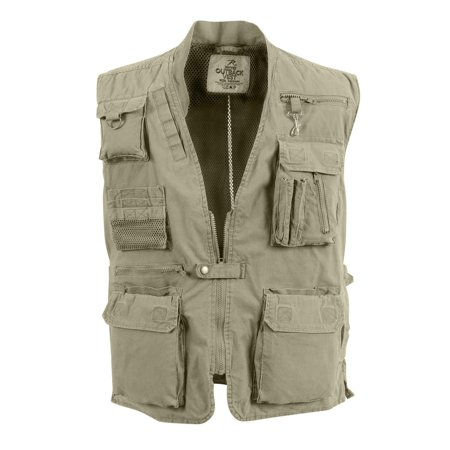 - Khaki Deluxe Safari Outback Vest for Travel, Sportsmen, Concealed Carry, 3XL