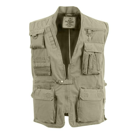 Khaki Deluxe Safari Outback Vest for Travel, Sportsmen, Concealed Carry,