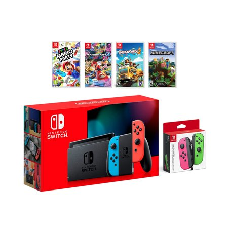 2019 New Nintendo Switch Red/Blue Joy-Con Console Multiplayer Party Game Bundle + Neon Pink/Green Joy-Con, Super Mario Party, Mario Kart 8 Deluxe, Overcooked 2, (Best Games Console For 7 Year Old 2019)