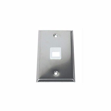 C2g 1-port Single Gang Multimedia Keystone Wall Plate - Stainless Steel