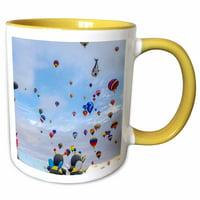 3dRose Hot Air Baloons, Albuquerque Balloon Fiesta, Albuquerque, New Mexico - Two Tone Yellow Mug, 11-ounce