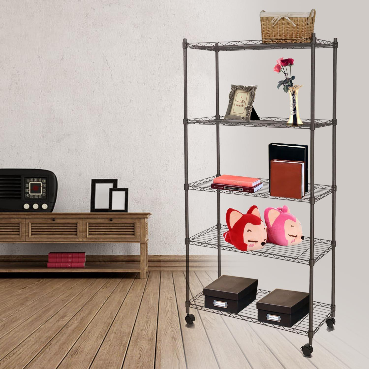 "Adjustable Wire Shelving 5-Tier Shelf Metal Shelf Unit with Wheels for Kitchen Bedroom Garage 29""W x 61""H x 14""D Muscle Rack"