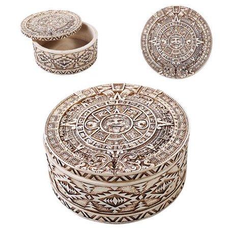 Mexica Aztec Maya Solar Sun Calendar Mesoamerican Round Jewelry Box - Aztec Container