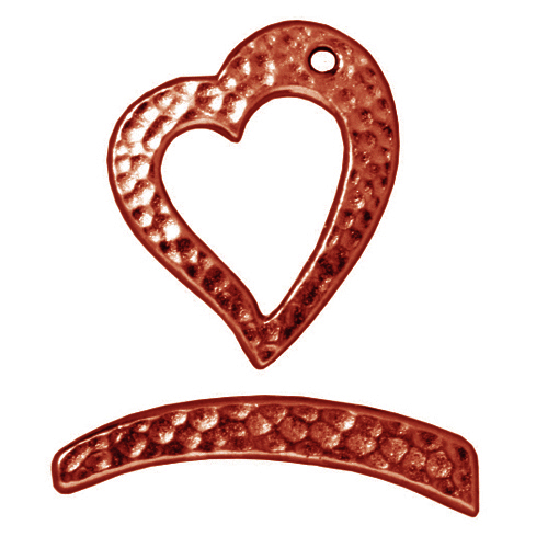 Copper Plated Pewter Hammertone Heart Toggle Clasp 22mm (1)