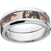 mossy oak pink break up womens camo 8mm stainless steel wedding band with polished edges and - Mossy Oak Wedding Rings