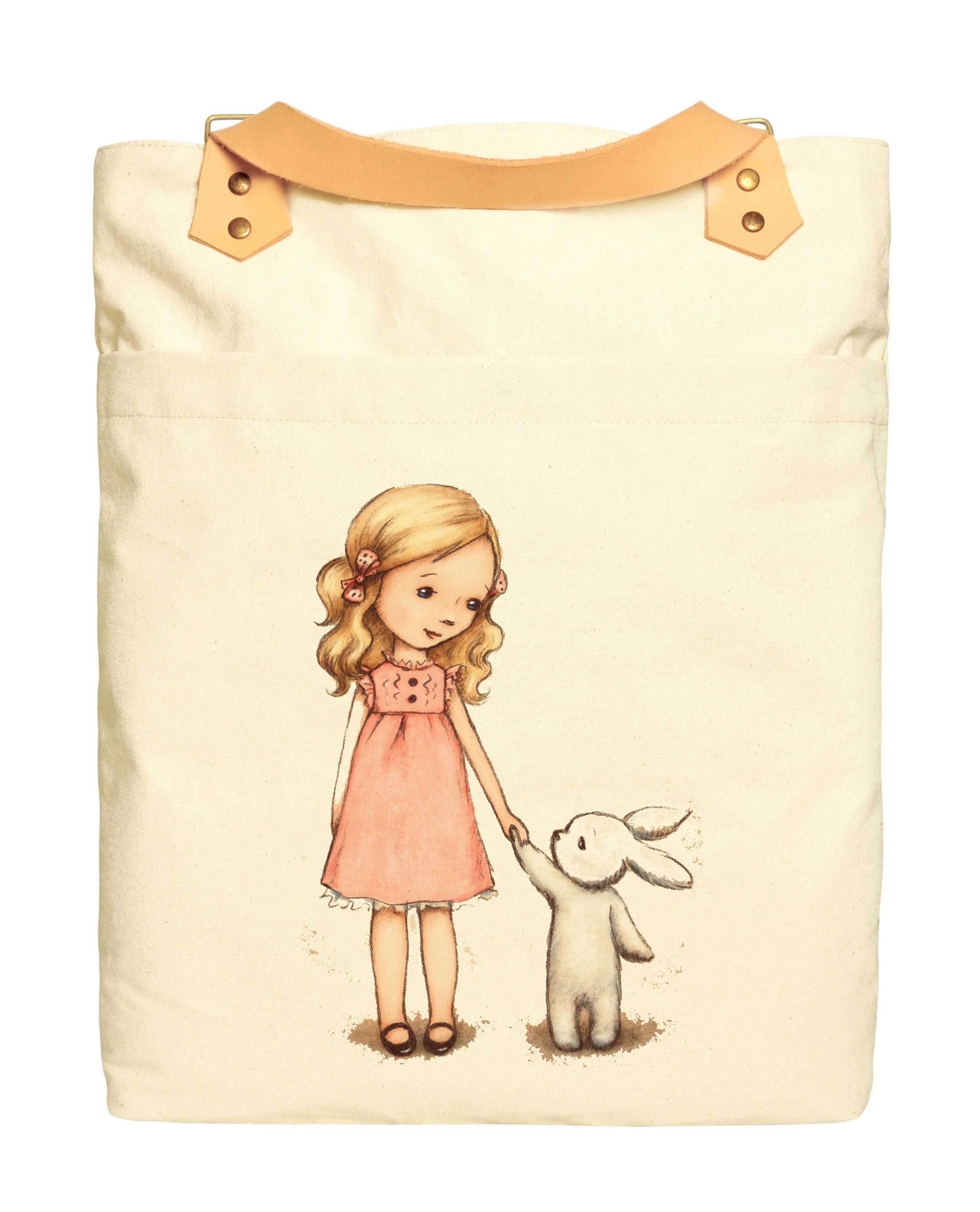 Little girl with bunny Print 100% Cotton Canvas Leather Straps Backpack WAS_34 by Vietsbay
