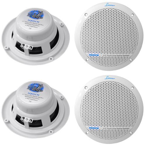 "4)  LANZAR AQ6DCW 6.5"" 720W Dual Cone Marine/Boat Speakers Waterproof White"