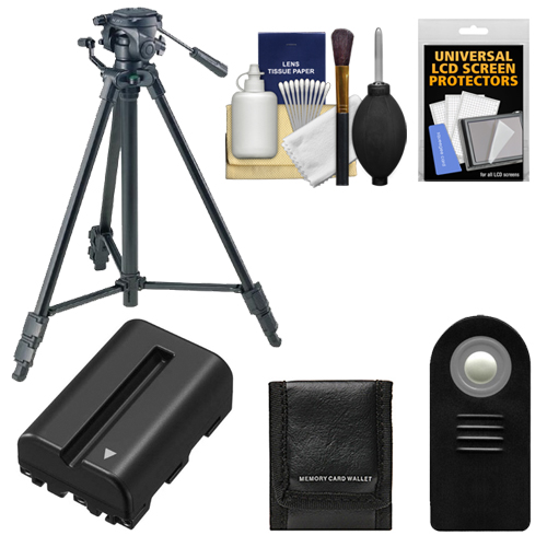 "Sony VCT-R640 61"" Photo/Video Tripod with 2-Way Pan & Tilt Head (Black) with NP-FM500H Battery   Remote   Accessory Kit for A57, A65, & A77 DSLR Camera"