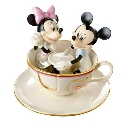 Lenox Ivory Fine China Mickey's Teacup Figurine with Gold Accents