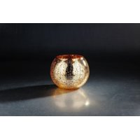 Silver and Golden Colored Round Mercury Glass Hand Blown Vase 8""