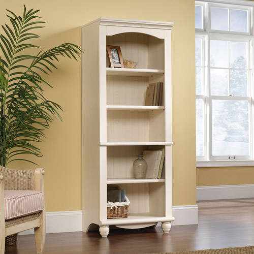 Sauder Harbor View 5-Shelf Library Bookcase, White