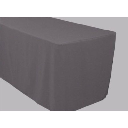 8 39 ft fitted polyester table cover trade show banquet tablecloth charcoal grey. Black Bedroom Furniture Sets. Home Design Ideas
