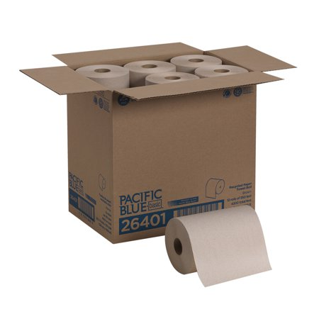 Pacific Blue Basic™ (26401) Recycled Paper Towel Roll (Previously branded Envision®) by GP PRO (Georgia-Pacific), Brown, 350 Feet Per Roll, 12 Rolls Per Case