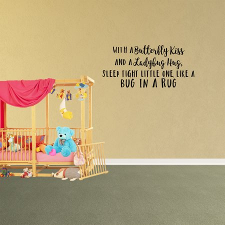 With A Butterfly Kiss And A Ladybug Hug Vinyl Wall Decal Quote Stickers XJ378 - Ladybug Wall Decals