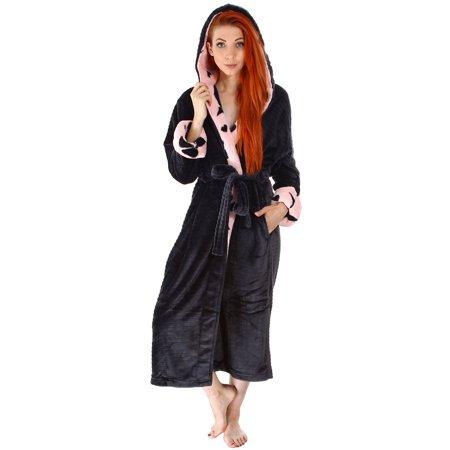 Simplicity Women's Soft Plush Hoodie Bathrobe Kimono Robe with -
