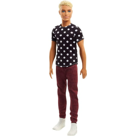 - Barbie Fashionistas Ken Doll Wearing Polka Dot Top & Red Pants