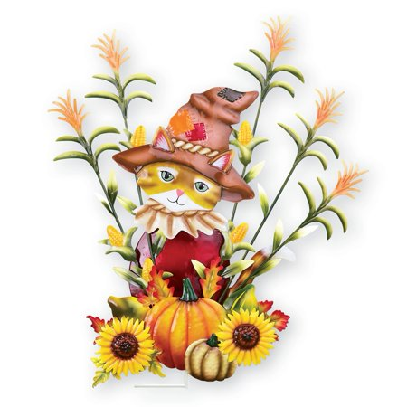 Autumn Scarecrow Cat Garden Stake