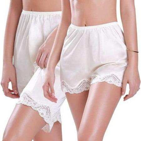 NEW Women Premium Nylon Daywear Bloomer Slip Pants With Lace Trim M-XXXL The Short - Mid Bloomer