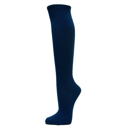Couver Cotton Plain Fashion Casual Ladies / Girls Cute Knee High Socks, Navy Small Cotton Sole Knee High