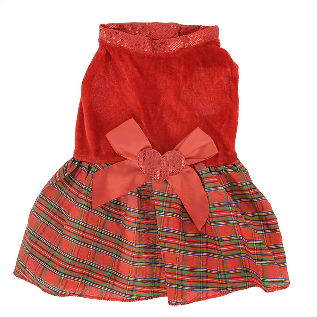Unique Bargains Bowknot Heart Accent Plaid Pattern Pet Dog Puppy Clothes Dress Skirt Red M