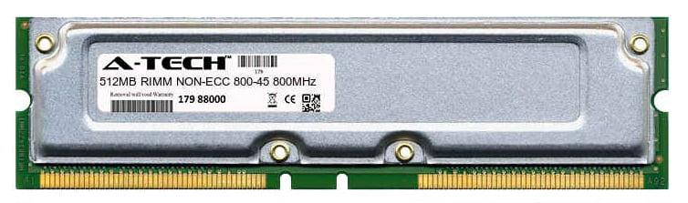 512MB Module 800-45ns 400MHz NON-ECC RD RIMM Desktop 184-pin Memory Ram