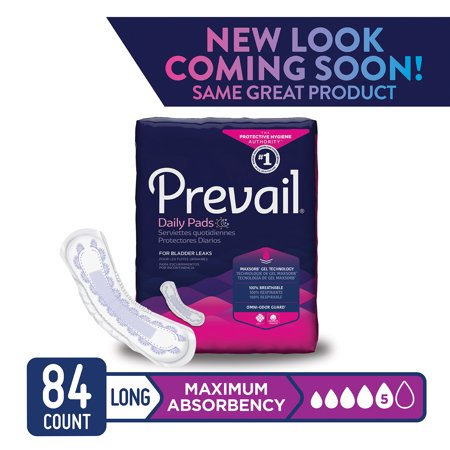 Prevail Maximum Absorbency Long Bladder Control Pads, 84 Count