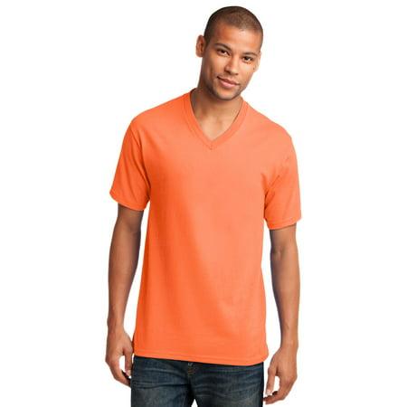 ba5ec472 Port & Company® Core Cotton V-Neck Tee. Pc54v Neon Orange L ...