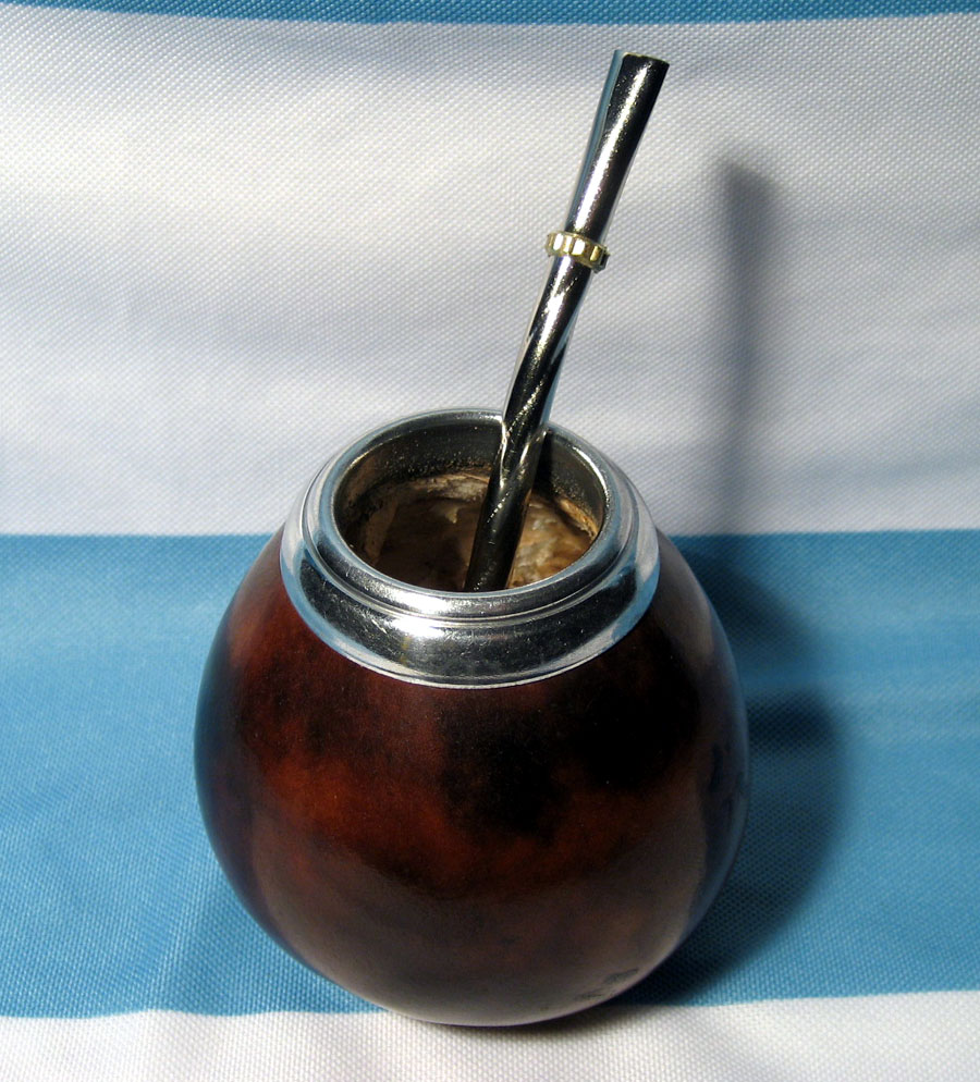 ARGENTINA MATE GOURD YERBA TEA WITH STRAW BOMBILLA GAUCHO CUP DRINKING KIT 0042