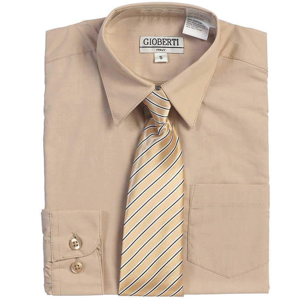 Khaki Tan Button Up Dress Shirt Pinstriped Tie Set Toddler Boys 2T-4T