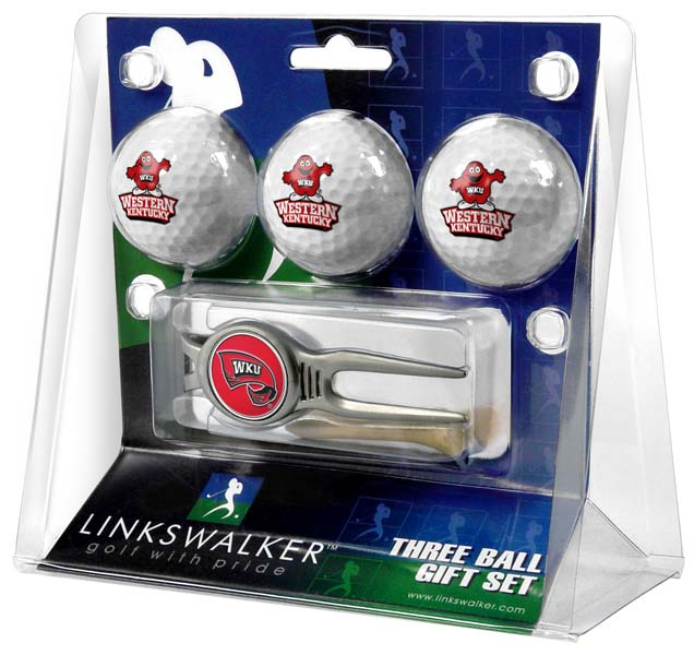 LinksWalker Western Kentucky 3 Ball Gift Pack With Kool Tool