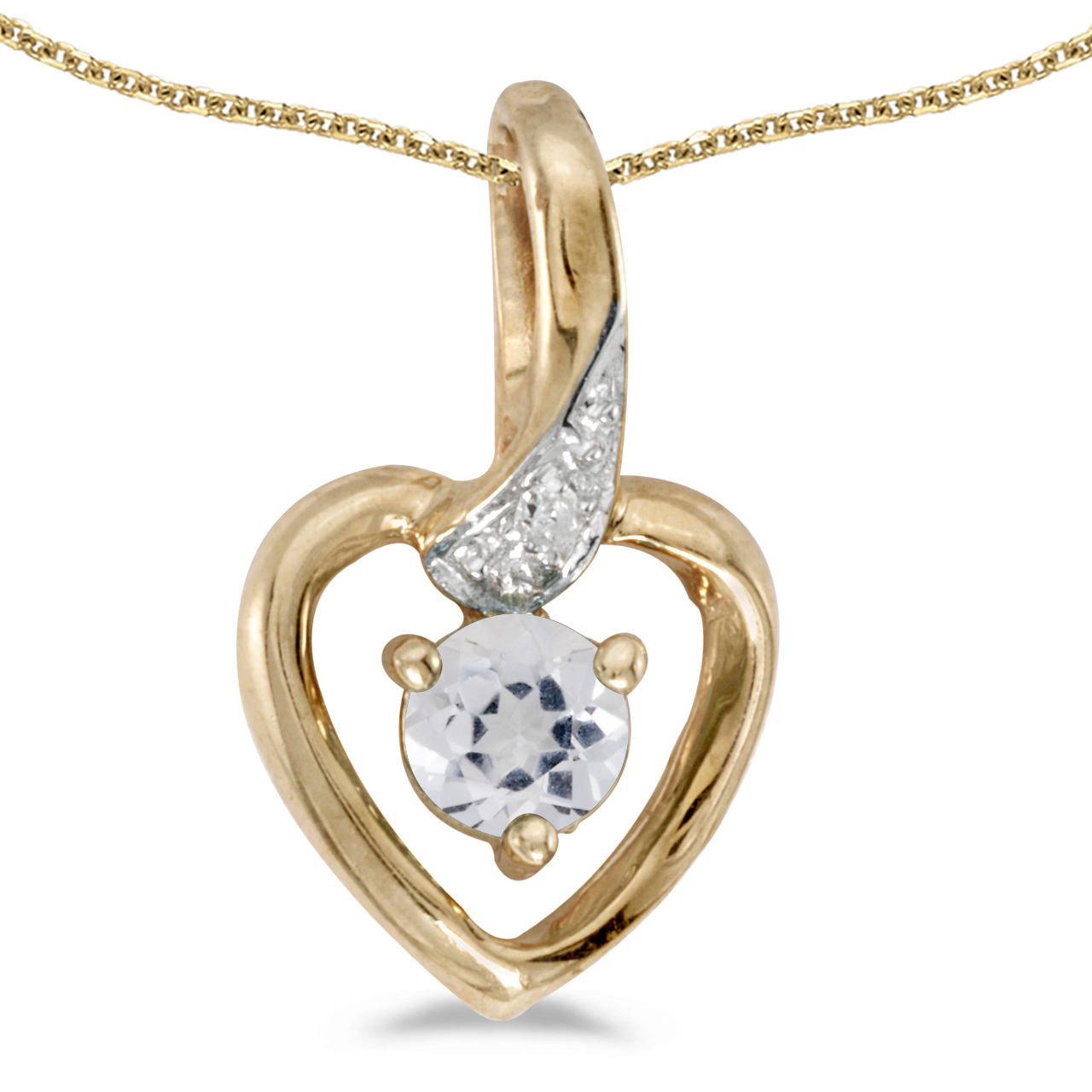 "10k Yellow Gold Round White Topaz And Diamond Heart Pendant with 18"" Chain"